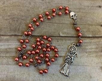 Coral glass pearl santa muerte rosary, santisima muerte rosary, Nuestra Señora de la santa muerte, holy death rosary, sacred death rosary