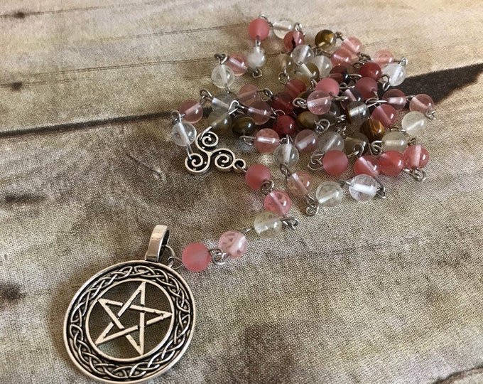 Featured listing image: Cherry quartz pentacle rosary, pagan rosary, wiccan necklace, handmade, one of a kind, occult gift, celtic knot, celtic inspired