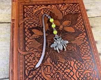 Yellow and silver honey bee bookmark, bumblebee bookmark, apiary bookmark, bug bookmark, insect bookmark, beaded bookmark, metal bookmark