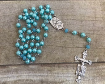 Bright blue glass faux pearl rosary, italian silver rosary, catholic rosary, baptism gift, confirmation gift, one of a kind rosary