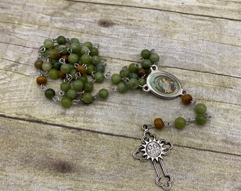 Green jasper Saint Rose of Lima rosary, patron Saint rosary, stone rosary, patroness rosary, rose of Lima, Catholic rosary, unique rosary,