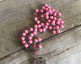 Bright pink pagan rosary, cherry quartz, pentacle jewelry, occult girt, wiccan necklace