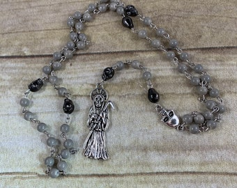 Grey and gunmetal Santa muerte rosary, santisima muerte rosary, nuestra senora de la Santa Muerte, holy death rosary, sacred death rosary