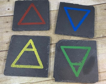 Hand painted element slate coasters, pagan elements, pagan coasters, wiccan coasters, wiccan elements, witch coasters, occult coasters
