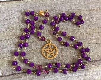 Purple and gold pagan rosary, pentacle pagan prayer beads, wiccan prayer beads, occult jewelry, wiccan rosary, witch rosary, pagan jewelry