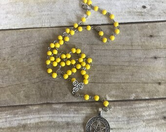 Bright yellow celtic pagan rosary, wiccan jewelry, pentacle necklace, celtic knot jewelry, occult gift