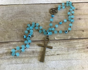 Bright blue sea glass ankh rosary, pagan rosary, pagan prayer beads, ankh necklace, wiccan jewelry, wiccan prayer beads, occult jewelry