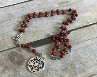 Brown wiccan wheel of the year rosary, pagan altar, pagan prayer beads, wiccan wheel, wiccan jewelry, wiccan necklace