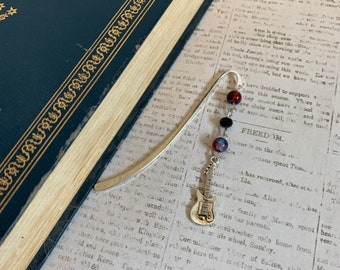 Electric guitar bookmark, music bookmark, Father's Day bookmark, music teacher gift, rock and roll gift, musician bookmark