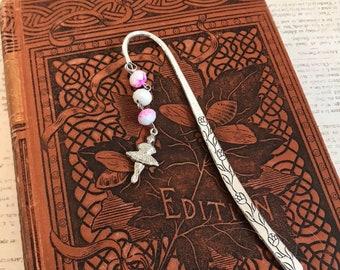 Pink and white ballerina bookmark, dancer bookmark, dancing gift, stocking stuffer, metal bookmark