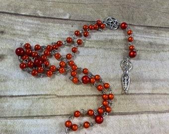 Red orange mirrored goddess prayer beads, wiccan prayer beads, pagan rosary, goddess rosary, pagan prayer beads, occult prayer beads
