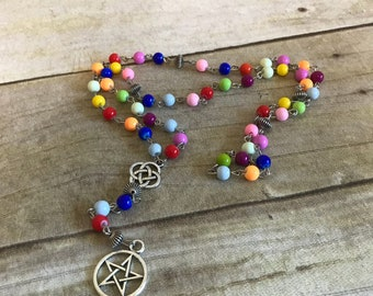 Rainbow mix pagan pentacle rosary, pagan prayer beads, wiccan jewelry, occult necklace, pagan rosary