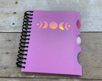 Light purple holographic moon phase notebook, moon journal, celestial notebook, lunar journal, pagan notebook, wiccan notebook