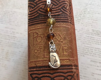 Brown and silver cat bookmark, feline bookmarl, pet bookmark, kitty bookmark, beaded bookmark, metal bookmark