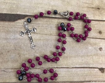 Bright purple and black catholic rosary, handmade rosary, simple rosary, baptism gift, first communion, religious jewelry