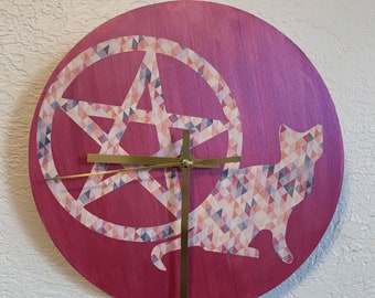 Pink pentacle cat wall clock, pagan clock, wiccan clock, occult clock, witch clock, familiar clock, pagan home decor, witch aesthetic