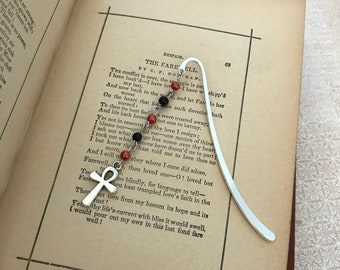 Red and black Ankh bookmark, anhk book hook, occult bookmark, pagan bookmark, metal bookmark, handmade bookmark, metal book hook