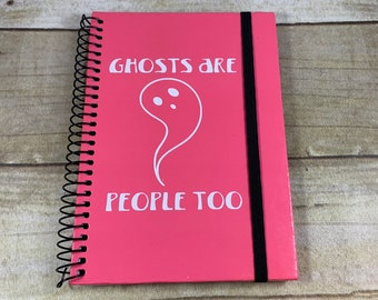 Ghosts are people too journal, ghost notebook, pastel goth journal, gothic journal, halloween journal, spirit journal, seance journal