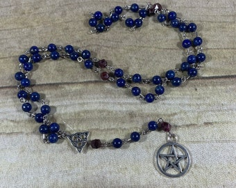 Lapis lazuli and garnet pagan rosary, pagan prayer beads, wiccan rosary, wiccan prayer beads, pentacle rosary, pentacle prayer beads