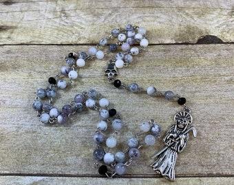 Dendritic Opal Santa muerte rosary, santisima muerte rosary, nuestra senora de la santa muerte, holy death rosary, sacred death rosary,