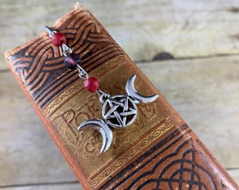 Purple and red triple moon bookmark, triple goddess bookmark, pentacle bookmark, pagan bookmark, wiccan bookmark, witch bookmark, witchcraft