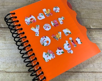 Orange floral make your own magic notebook, magic journal, magick journal, pagan journal, wiccan journal, witch journal, occult journal