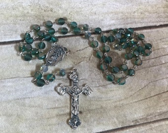 Green sparkle catholic rosary, italian silver rosary, handmade rosary, glass rosary, confirmation gift, baptism gift, first communion