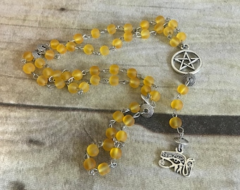 Yellow Sea glass eye of ra prayer beads, eye of horus, pagan prayer beads, pagan rosary, wiccan jewelry, wiccan necklace