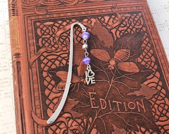 Purple and silver love bookmark, romantic bookmark, Valentine's Day gift, anniversary gift, wedding gift, beaded bookmark
