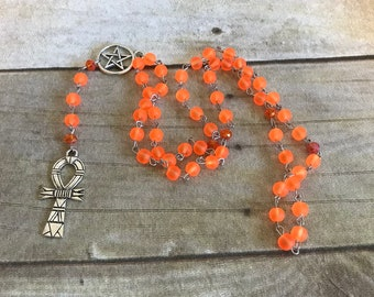 Bright orange sea glass ankh rosary, pagan prayer beads, pagan rosary, wiccan jewelry, wiccan necklacs, ankh necklace, ankh jewelry