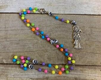 Bright rainbow skull santa muerte rosary, santisima muerte rosary, nuestra senora de la santa muerte, holy death rosary, sacred death rosary