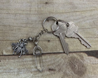 Clear quartz bee keychain, bumble bee keychain, apiary keychain, apiary gift, be gift, essential oil keychain, diffuser keychain