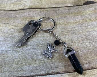 Black agate Anubis keychain, crystal keychain, essential oil diffuser keychain, pagan keychain, wiccan keychain, witch keychain, occult