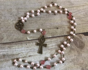 Pale pink ankh pagan prayer beads, egyptian paganism, occult jewelry, wiccan rosary, ankh rosary, wiccan necklace, pagan rosary