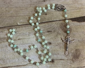 Glow in the dark acrylic catholic rosary, novelty rosary, unique rosary, handmade rosary, baptism gift, first communion gift, confirmation