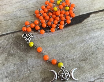 Orange and yellow triple moon rosary, pagan necklace, triple goddess, wiccan jewelry, handmade, one of a kind, pentacle rosary, occult gift