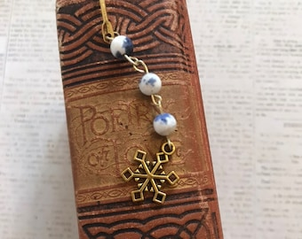 Blue and white stone snowflake bookmark, winter bookmark, holiday bookmark, christmas bookmark, seasonal bookmark, snow bookmark