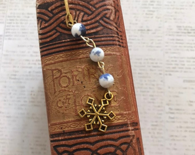 Featured listing image: Blue and white stone snowflake bookmark, winter bookmark, holiday bookmark, christmas bookmark, seasonal bookmark, snow bookmark