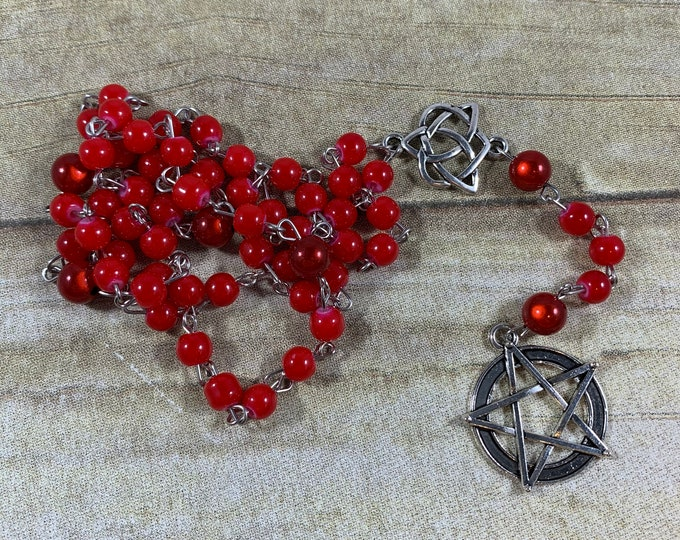 Featured listing image: Red heart pentacle pagan rosary, pagan prayer beads, wiccan rosary, witch rosary, witch prayer beads, occult prayer beads, occult rosary