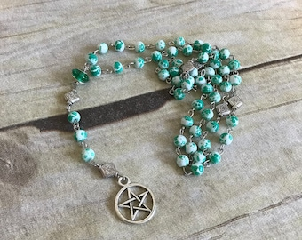 Green splatter pagan rosary, pagan prayer beads, wiccan rosary, pentacle rosary, pentacle jewelry, wiccan necklace, occult jewelry