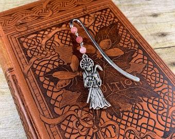 Red frosted vein agate Santa muerte bookmark, santisima muerte bookmark, nuestra senora de la Santa muerte bookmark, holy death, saintly