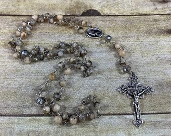 Feldspar jasper rosary, stone rosary, natural rosary, baptism gift, first communion gift, confirmation gift, catholic rosary, heavy rosary
