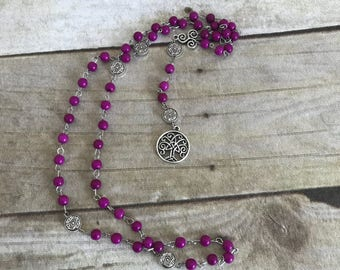 Purple howlite tree of life rosary, pagan jewelry, wiccan necklace, handmade jewelry,