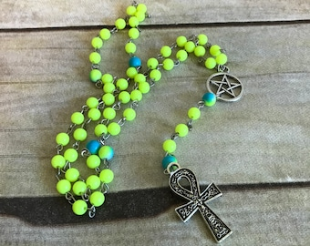 Bright green and blue ankh rosary, ankh jewelry, ankh necklace, pagan rosary, pagan prayer beads, wiccan jewelry, egyptian inspired