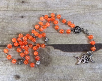 Orange drizzle triple moon pagan rosary, triple goddess jewelry, pentacle necklace, pagan prayer beads, wiccan jewelry
