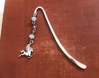 Pale blue pegasus bookmark, unicorn bookmark, horse bookmark, fantasy bookmark, myth bookmark, beaded bookmark