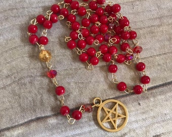 Red and gold pentacle pagan rosary, pagan prayer beads, wiccan rosary, occult jewelry, pentacle necklace, witch prayer beads