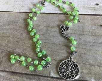 Bright green iridescent pagan rosary, tree of life jewelry, pagan prayer beads, celtic inspired, wiccan necklace, occult gift
