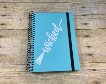 Blue and white wicked journal, broom journal, witch journal, Halloween journal, pagan journal, occult journal, wiccan journal