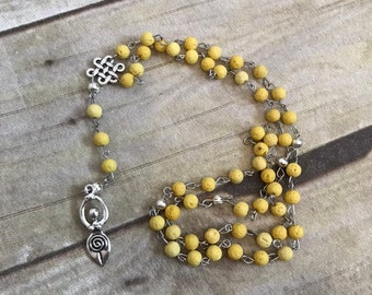 Yellow lava rock spiral goddess pagan rosary, essentail oil diffuser prayer beads, occult jewelry, wiccan necklace, goddess prayer beads